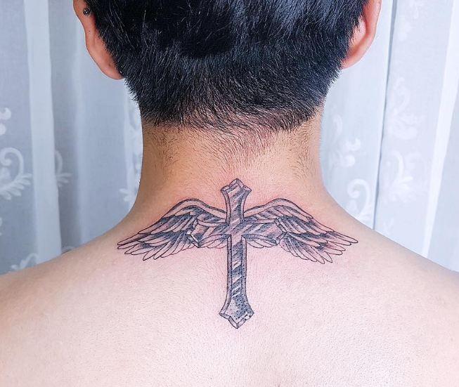 cross tattoos on back of neck