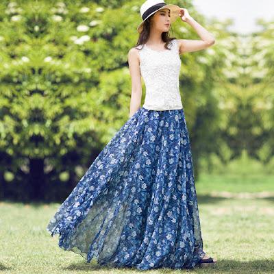 Model Rok Sifon Payung Motif Bunga Biru