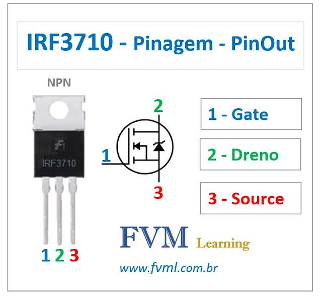 Pinagem - Pinout - Transistor Mosfet - NPN - IRF3710 - Características