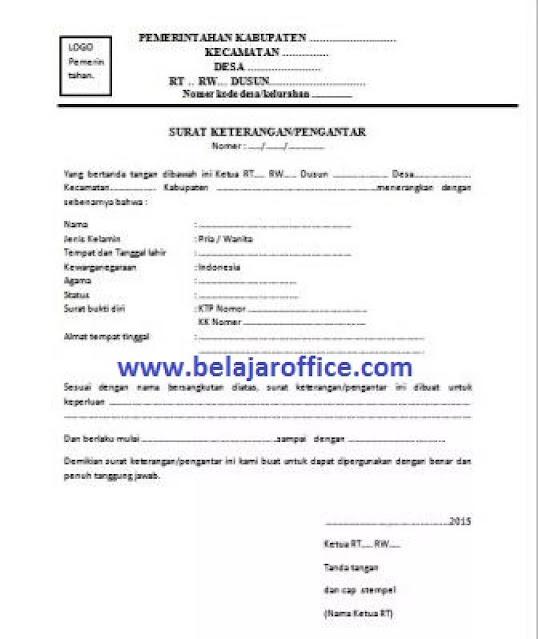 Contoh Surat Izin Tidak Masuk Kerja dari RT RW (via: belajaroffice.com)