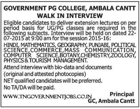Walk in Interview for Temporary Lecturer Vacancy Posts in Govt PG College Ambala Cantt