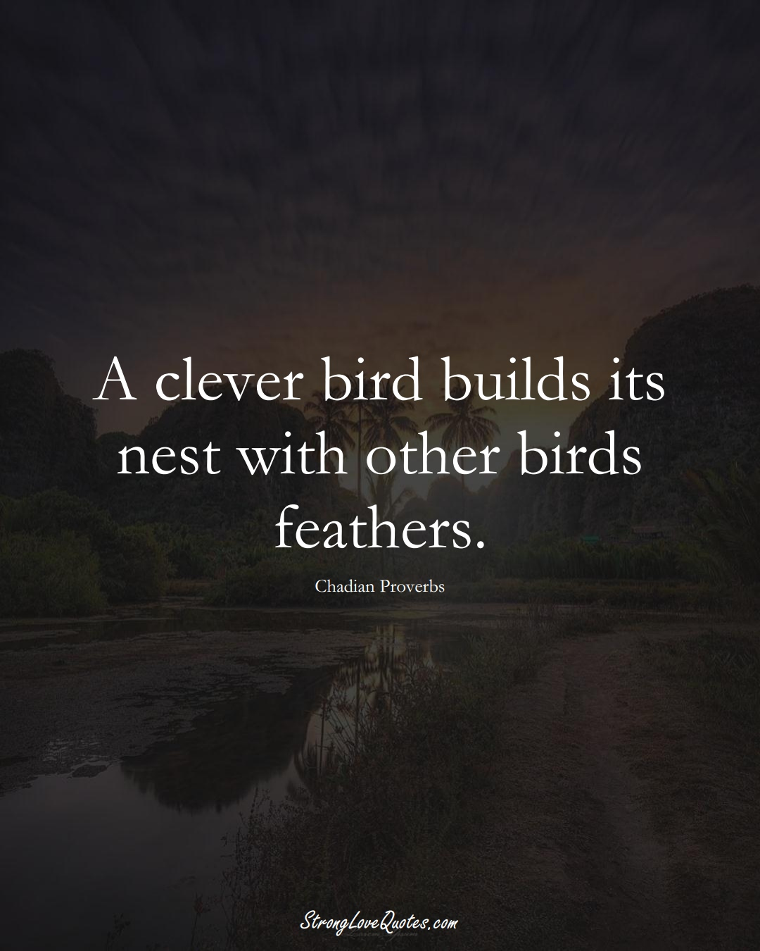 A clever bird builds its nest with other birds feathers. (Chadian Sayings);  #AfricanSayings