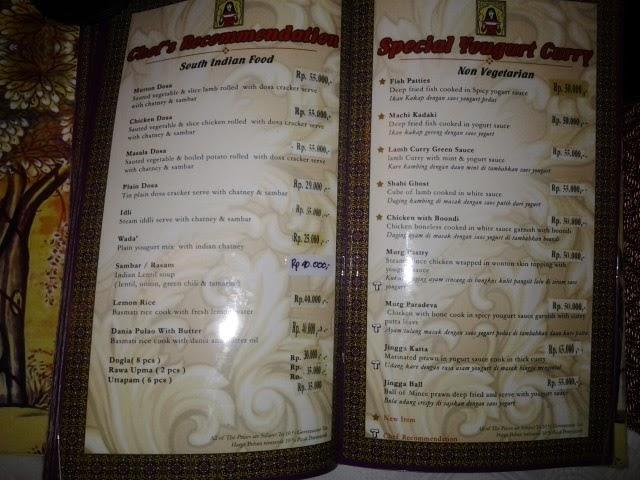 Sitara Indian Restaurant Menu