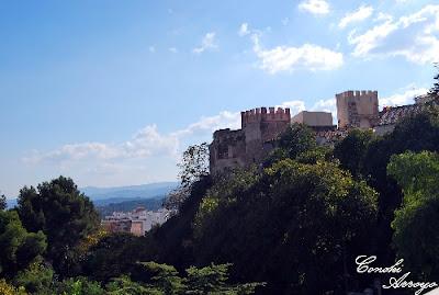 Vista general del Castillo y Buñol desde la subido por el parque Borrunes