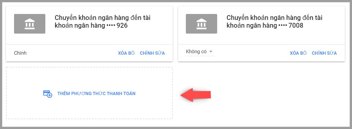 Thêm phương thức thanh toán trong google adsense