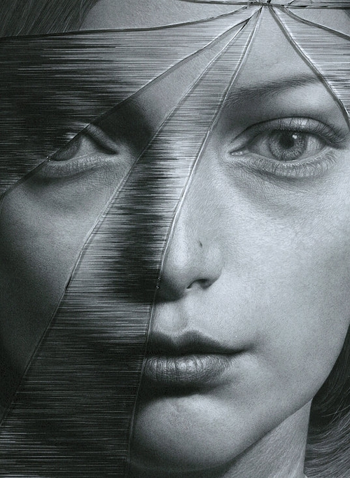 02-The-Cracked-Portrait-Pencil-Drawing-and-Glass-www-designstack-co