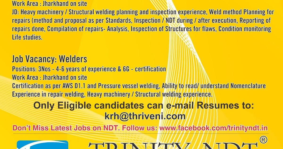 Welding Engineers And Welder Job Vacancies With Ndt Jamshedpur Jharkhand India