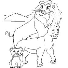 Simba And Lion Kings Familly Coloring Sheet