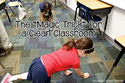 "Attention teachers! This is THE easiest way to get your students to clean the classroom at the end of the day. Students love and beg for the ""game""!"