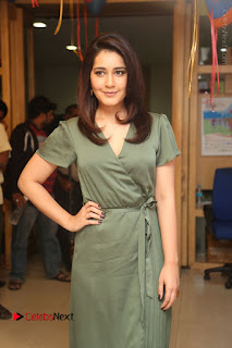 Actress Raashi Khanna Stills in Green Short Dress at Mirchi 95 Suno Aur Mercedes Jeeto Contest  0046.JPG