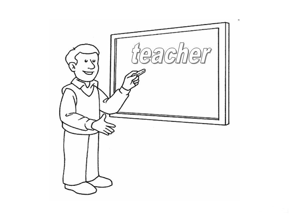 Professions drawings to color: Teacher Coloring, Waiter