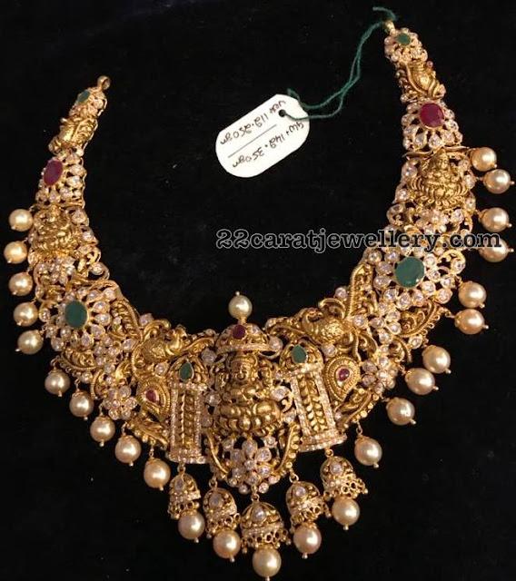 142 Grams Lakshmi Choker with Jhumka Motifs