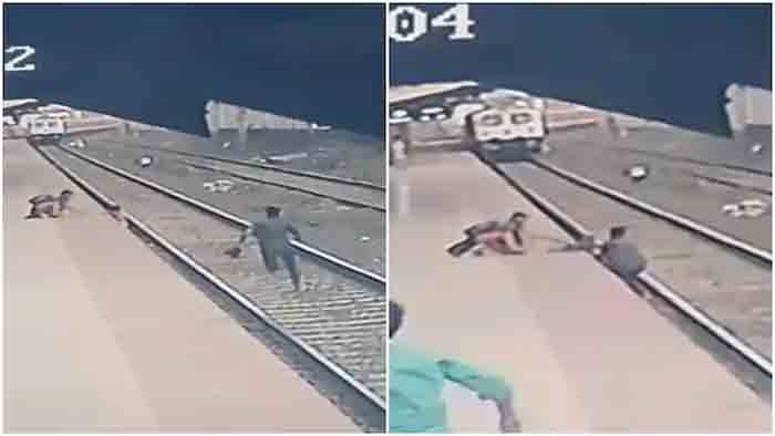 Watch: Mumbai railway official saves child from getting run over in nick of time, Mumbai, News, Railway Track, Train, Video, Twitter, National