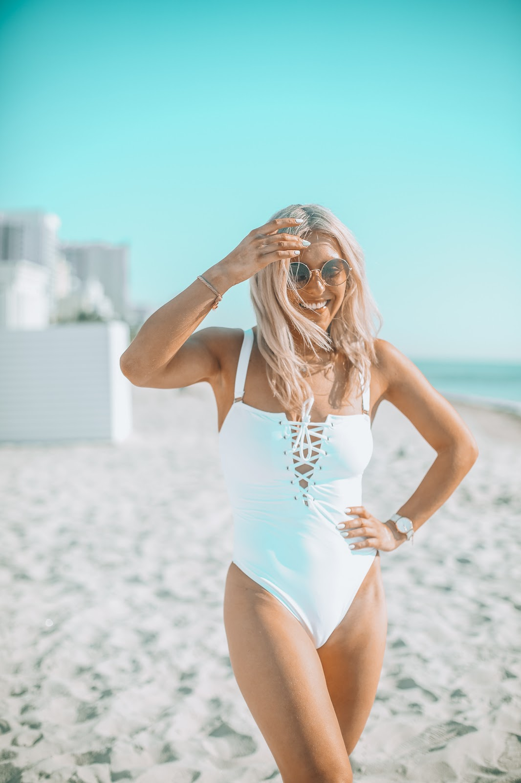 tie front white swimsuit missguided