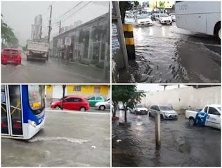 Forte chuva alcança Campina Grande e causa estragos nas ruas
