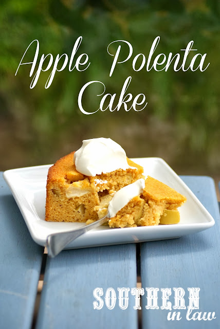Healthy Apple Polenta Cake Recipe with Creme Fraiche - Gluten free, low fat, clean eating friendly, sugar free