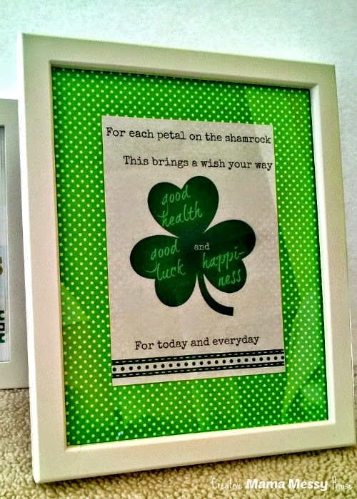 A free printable for St. Patrick's Day. Frame for a gallery wall or give as a gift. Place a smaller photo into a larger frame, then mat with scrapbook paper cut to size.