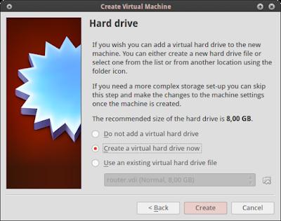 "Pilih ""create a virtual hard drive now"" lalu create"
