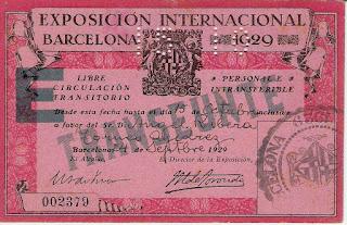 Pase de transeúnte a la Exposición Internacional de Barcelona 1929