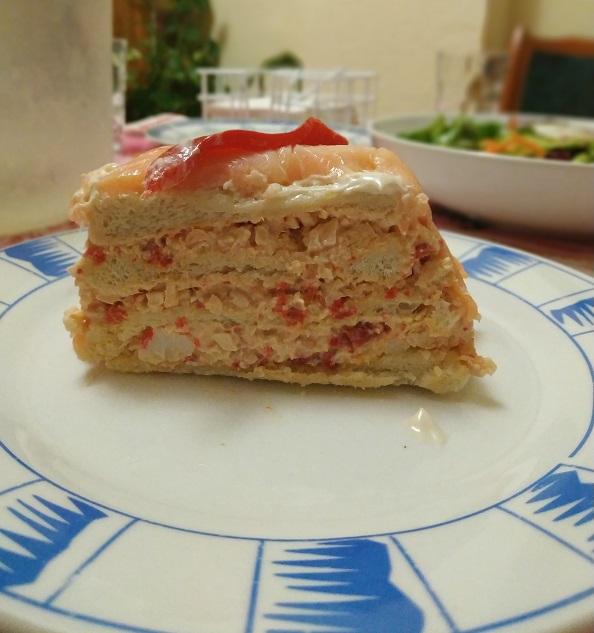 Pastel de salmón y pan de molde