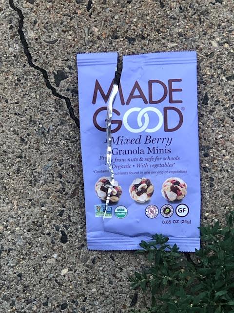 "Health bar wrapper: ""Made Good mixed berry granola minis."""
