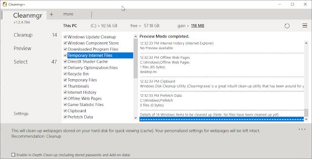 Cleanmgr+ Disk cleanup