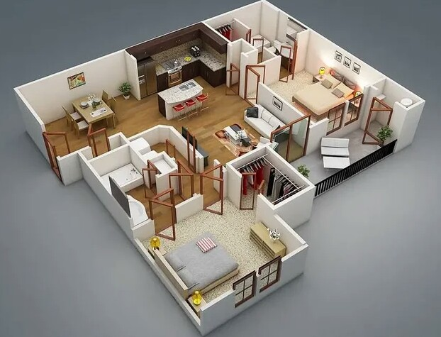 Layout of a country house with all the amenities