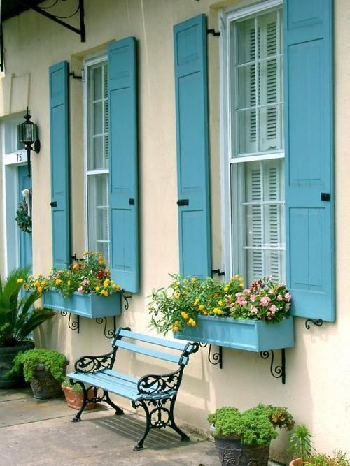 pretty french blue shutters