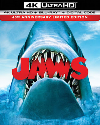 New cover art for Universal's 45th Anniversary 4K UHD of Spielberg's JAWS!