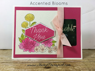 In this hand made gift card holder I used Stampin' Up!'s Accented Blooms stamp set!  I also used the Aqua Painter to color the flowers and the Tailored Tag Punch for the greeting.  All of the details are in the video on the blog!  #StampTherapist #stampinup www.StampTherapist.com