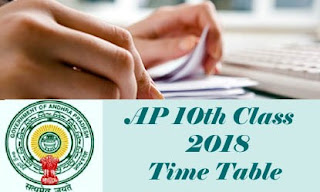 AP 10th 2018 Time table, AP 10th Class Exam 2018 Time table, AP SSC 2018 Time table