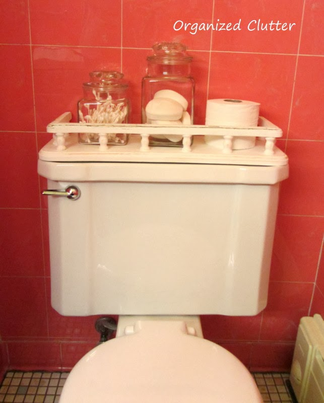 Toilet Tank Cover Makeover www.organizedclutterqueen.blogspot.com