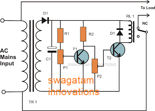 simple 2 transistor mains 220V voltage cut off circuit