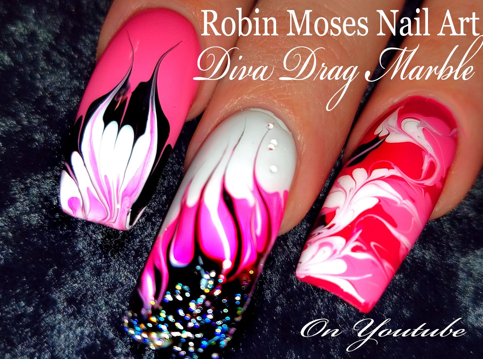 Nail Art by Robin Moses: Pink Diva No water Drag Marble; marbling ...