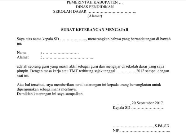 contoh surat keterangan kelakuan baik dari kepala sekolah untuk guru doc