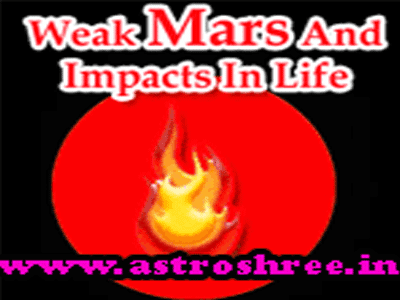 how weak mars affect life as per astrology
