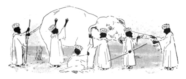in a line drawing, six dark men in long white garments are inspecting various parts of an elephant: its tail, side, leg, ear, tusk, and trunk