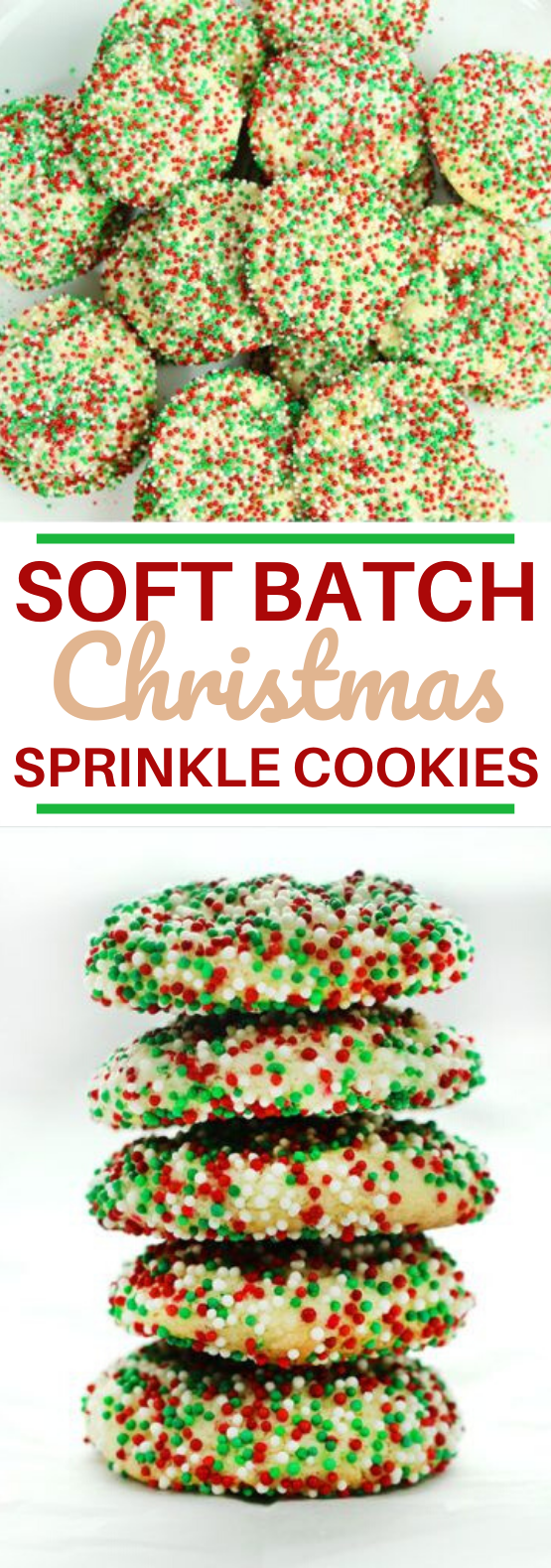 Soft Batch Christmas Sprinkle Cookies #cookies #desserts #baking #christmas #recipes