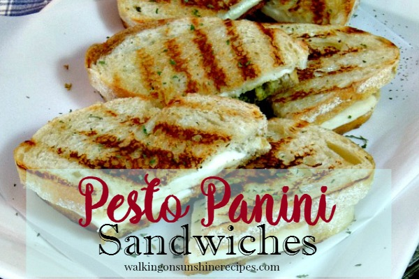 Grilled Pesto Panini Sandwiches Recipe from Walking on Sunshine.