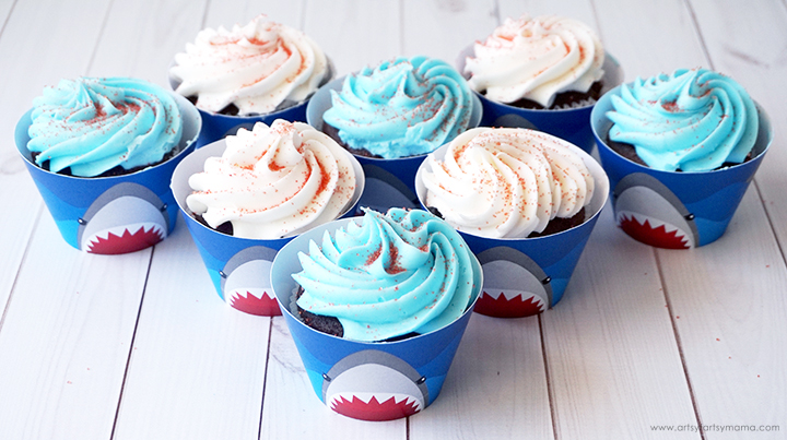 Shark Week Cupcake Wrappers on Cupcakes