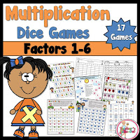 Multiplication Dice Games for Factors 1-6