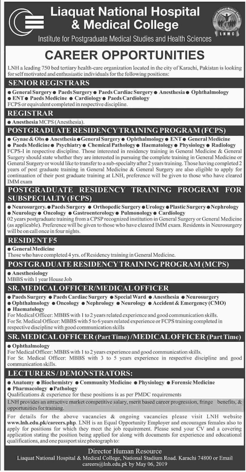 Jobs Vacancies in Liaquat National Hospital And Medical College