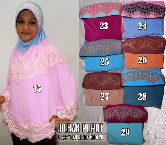 Jilbab puput melati model two tone dan renda modern