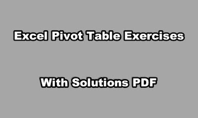 Excel Pivot Table Exercises with Solutions