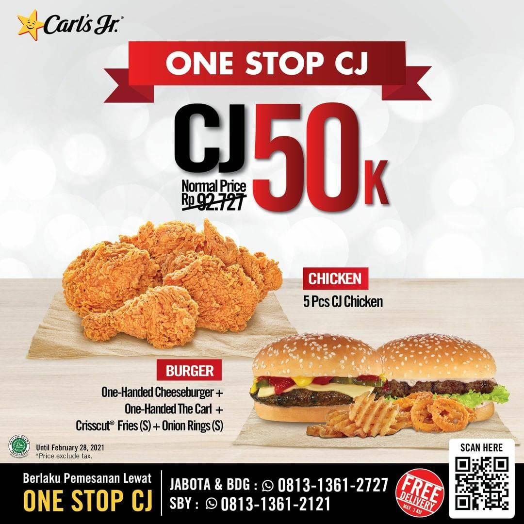 Carls Jr One Stop CJ! Promo Makan Berdua hanya 50K