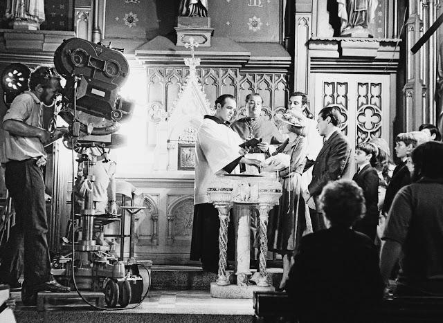Foto dos bastidores do filme O Poderoso Chefão, de 1972.