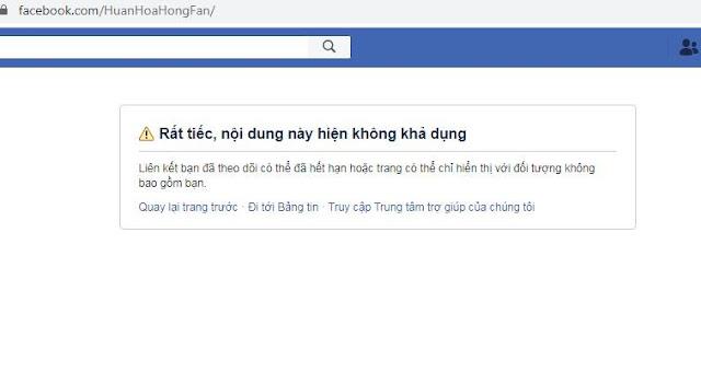 Fanpage của Huấn Hoa Hồng chính thức bị sập, không truy cập được từ khi CA truy bắt