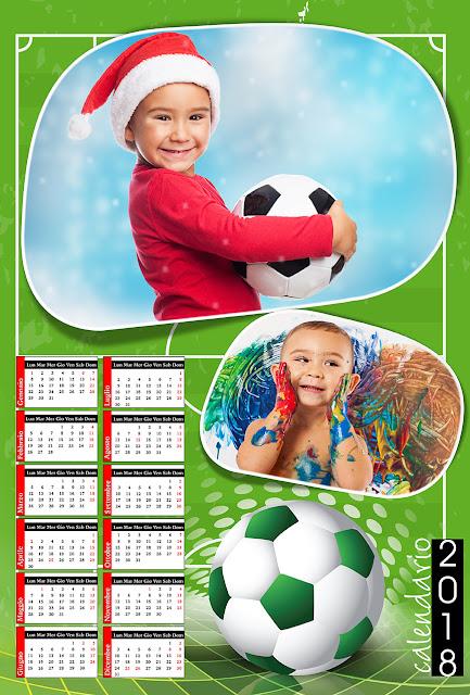 Calendario 2018 calcio con 2 foto