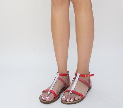sandale rosii cu talpa joasa lejere de vara