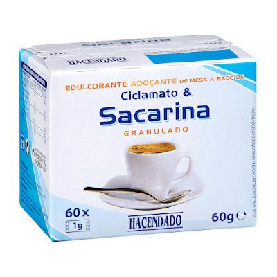 Edulcorante de ciclamato y sacarina granulado en sobres Hacendado